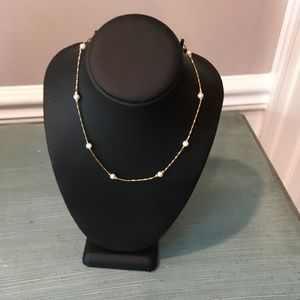 Vintage Napier Gold Tone Faux Pearl Necklace